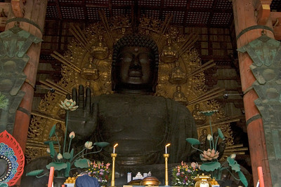 Front view of the Buddha statue in Todaiji Temple in Nara, Japan