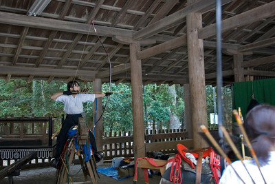 A woman practicing Ogasawara-ryu (horseback archery) in Nara, Japan