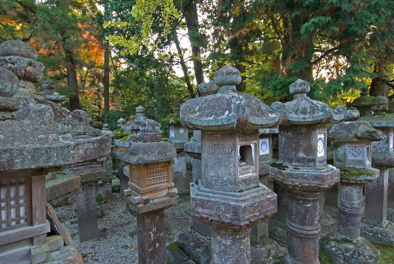 Stone lanterns at Kasuga Shrine in Nara, Japan