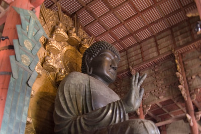 Closeup of the Buddha statue in Todaiji Temple - Nara, Japan