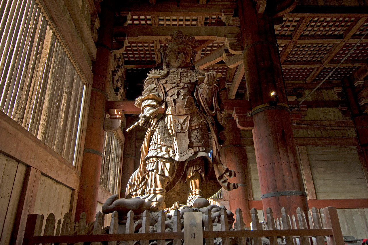 Wooden Statue at Todaiji Temple in Nara, Japan