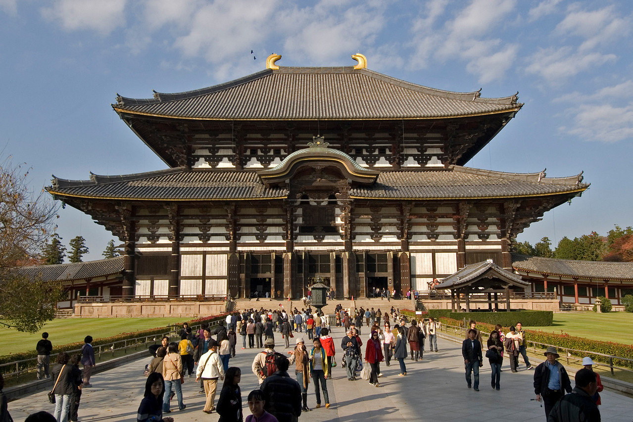 Front profile of Todaiji Temple in Nara, Japan