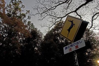 Deer Crossing Sign near the park in Nara, Japan