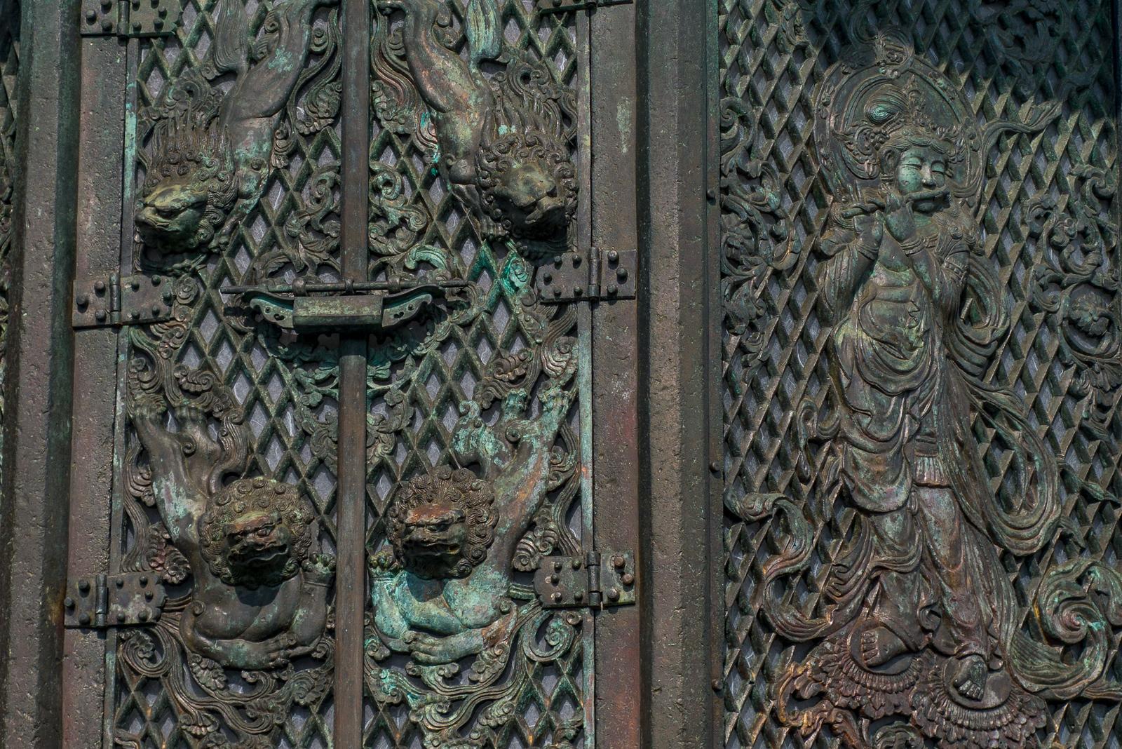 Aging copper at Todai-ji temple in Nara, Japan.