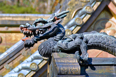 Dragon wood carving at the rooftop of temple in Nikko, Japan