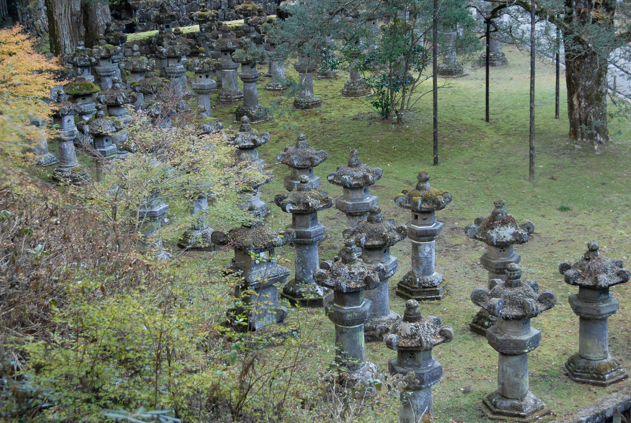 Rock posts at the grounds of Nikko Temple in Japan