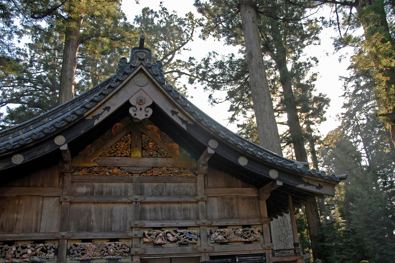 Front of the wooden rooftop at a temple in Nikko, Japan