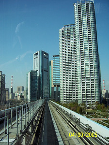 elevated train heading to the Rainbow Bridige to cross to Odaiba. Tokyo bay. 2005