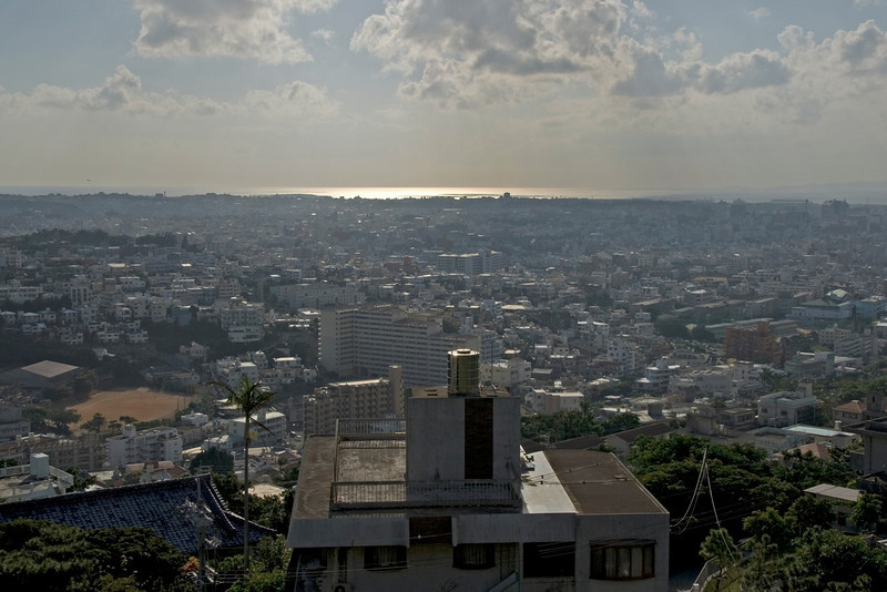 Overlooking view of Naha city skyline in Okinawa, Japan