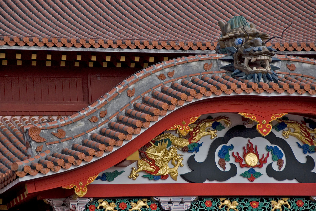 Close look at Shurijo Castle Ornament in Okinawa, Japan
