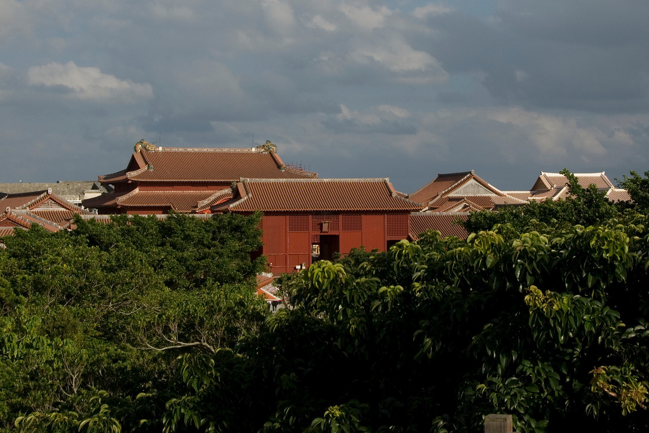 View of the Shurijo Castle Rooftops in Okinawa, Japan
