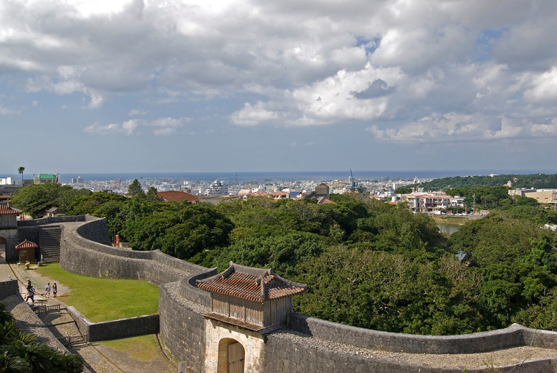 View of the Naha city from Shurijo Castle in Okinawa, Japan