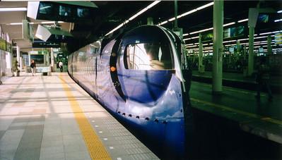 train looks like it is out of a Buck Rogers serial - Osaka. photo taken in 1997