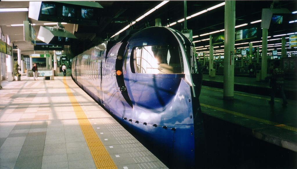 train looks like it is out of a Buck Rogers serial - Osaka. photo taken in 1997
