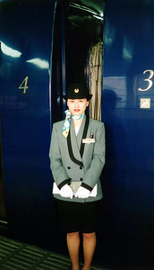 Always beautifully presented, train looks like it is out of a Buck Rogers serial - Osaka. photo taken in 1997