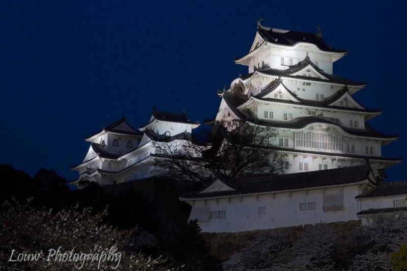 "<a target=""NEWWIN"" href=""http://en.wikipedia.org/wiki/Himeji_Castle"">Himeji Castle</a> at night during sakura season, Himeji, Japan"