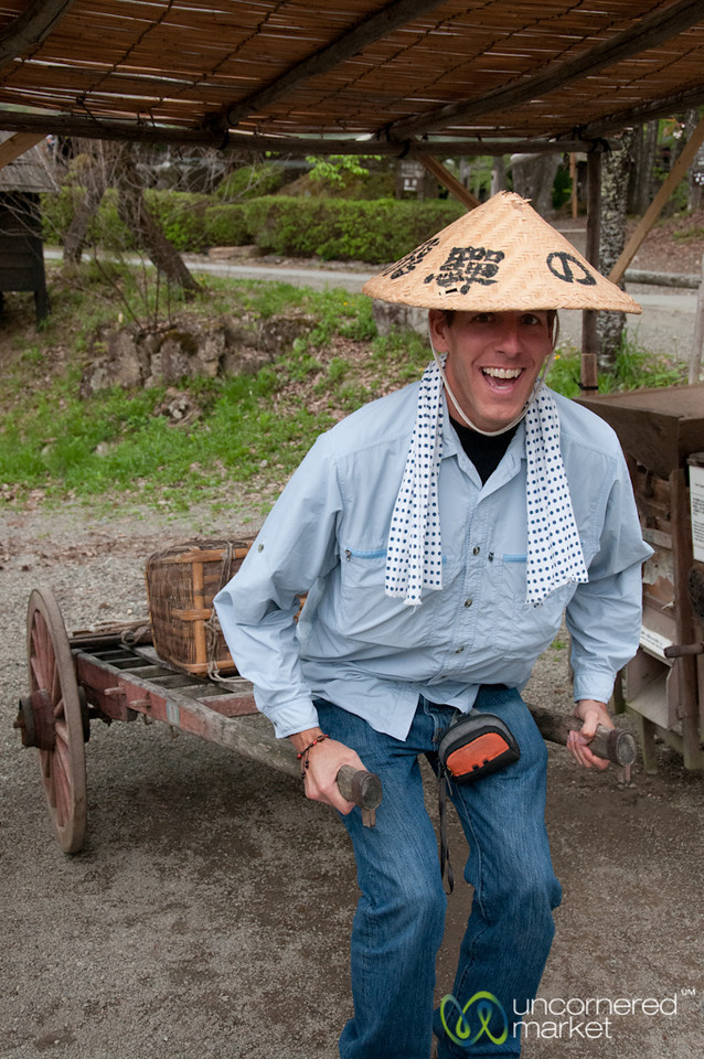 Silly Tourist Photo of Dan at Hida Folk Village - Takayama, Japan