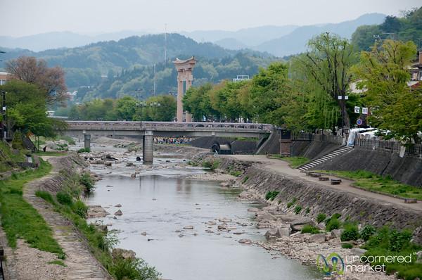 View of the Miyagawa River and Torii (Gate) - Takayama, Japan