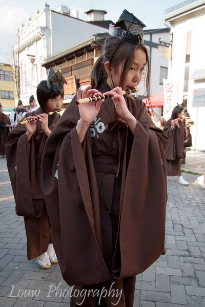 "Young girls play traditional instruments at the <a target=""NEWWIN"" href=""http://en.wikipedia.org/wiki/Takayama_Festival"">Takayama Festival</a>, <a target=""NEWWIN"" href=""http://en.wikipedia.org/wiki/Takayama,_Gifu"">Takayama</a>, Japan"