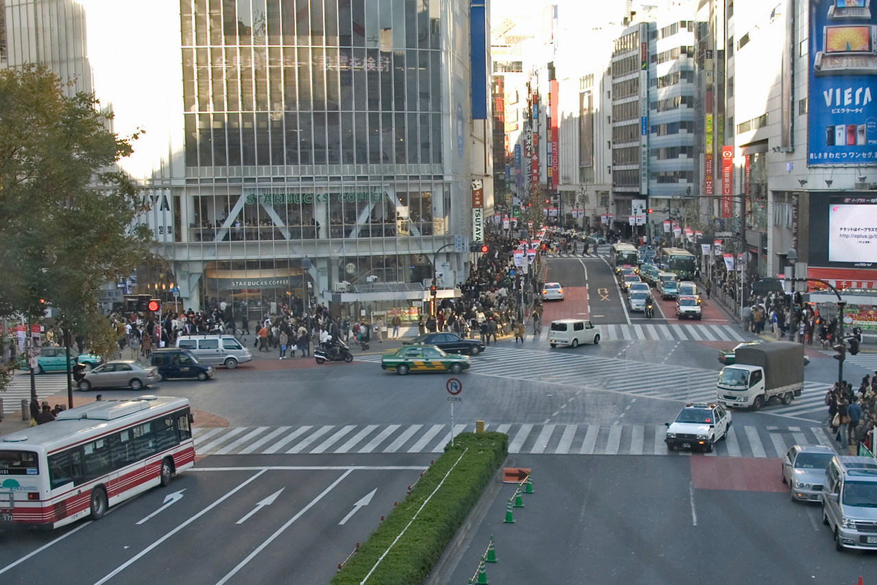 A slightly mellow scene at Shibuya Intersection in Tokyo, Japan