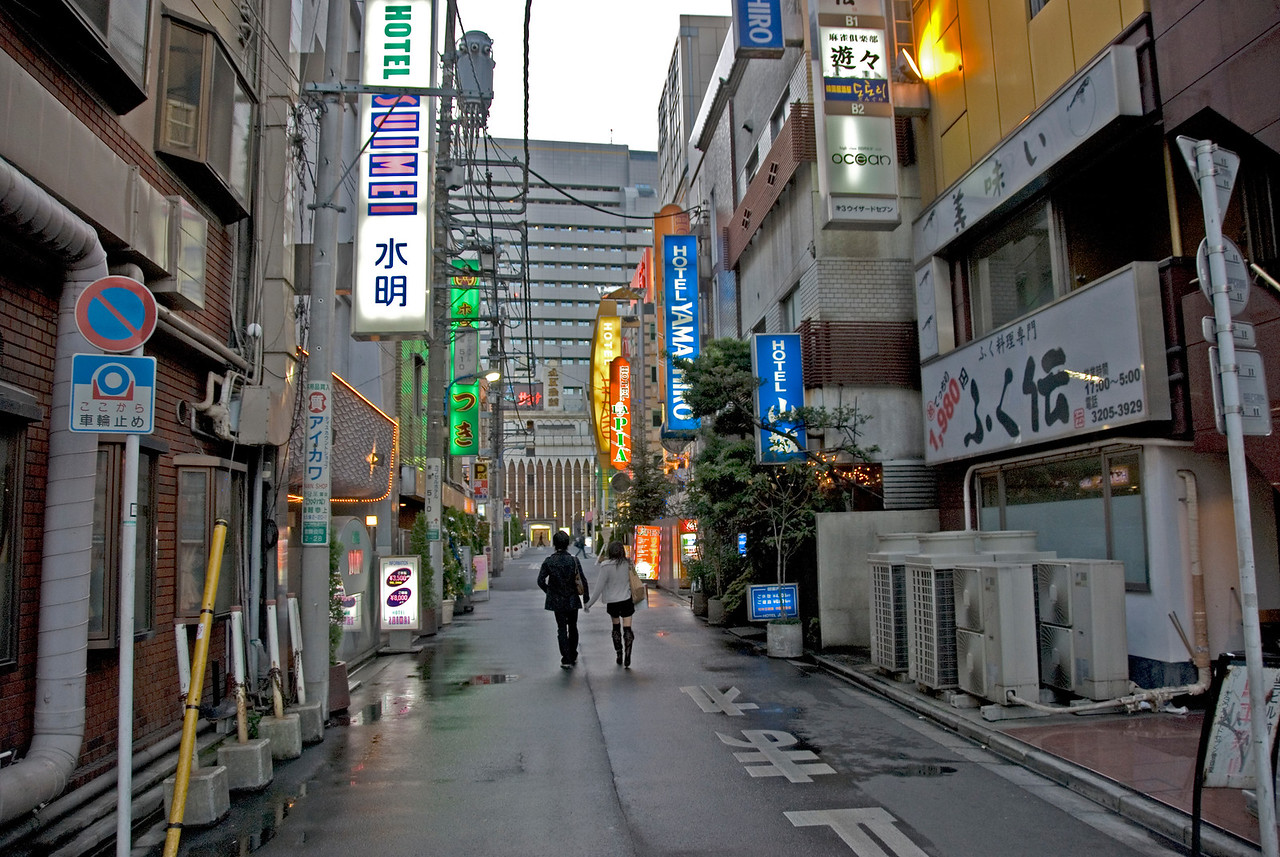 Couple walking hand in hand at an alley filled with hotels - Shinjuku, Tokyo, Japan