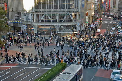Pedestrians filling up the busy Shibuya Intersection in Tokyo, Japan