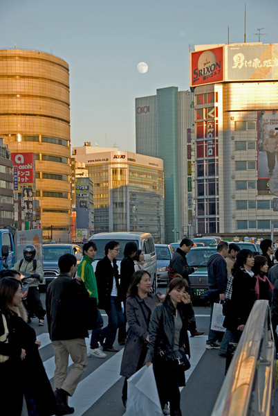 Moon over at Shinjiku during dusk - Shinjuku, Tokyo, Japan