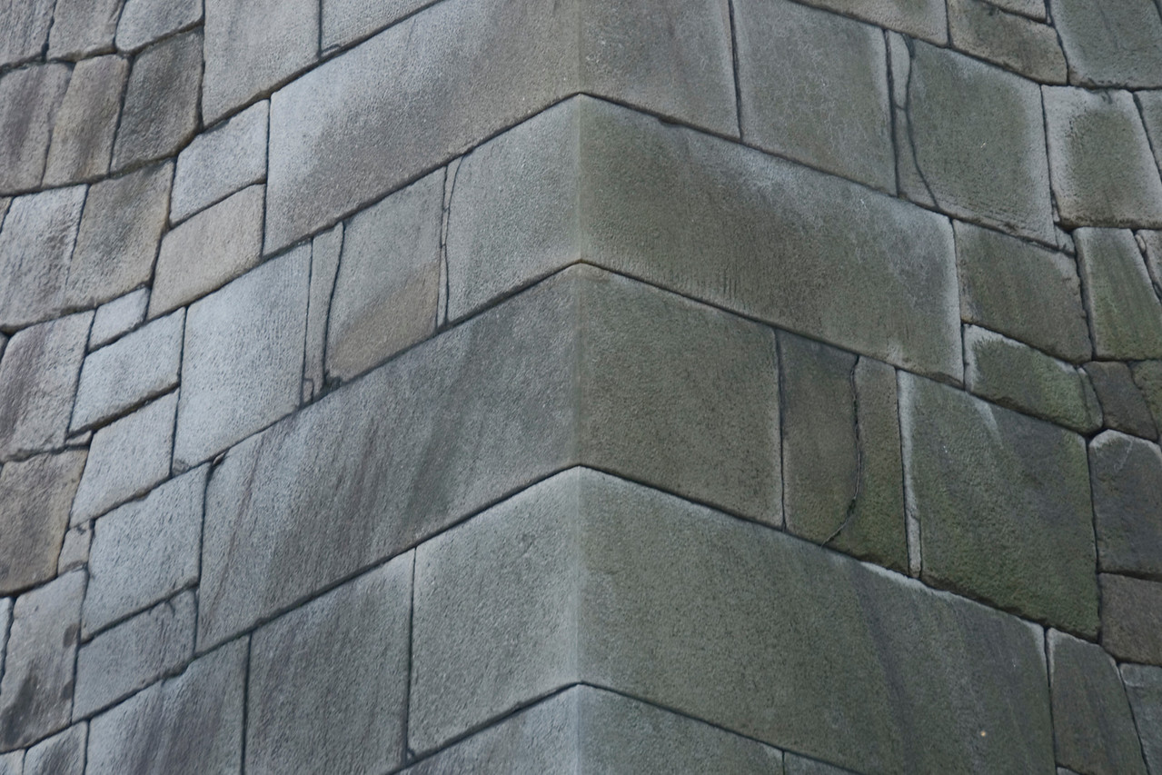 Close-up shot of Castle Wall in Imperial Garden - Tokyo, Japan