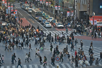 Heavy foot traffic at Shibuya Intersection in Tokyo, Japan