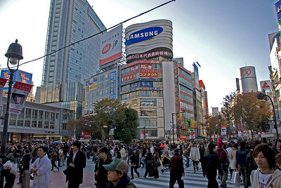 The busy Shibuya Intersection from another angle - Shibuya, Tokyo, Japan