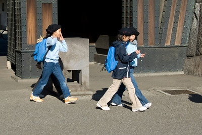 School kids spotted at Imperial Garden in Tokyo, Japan
