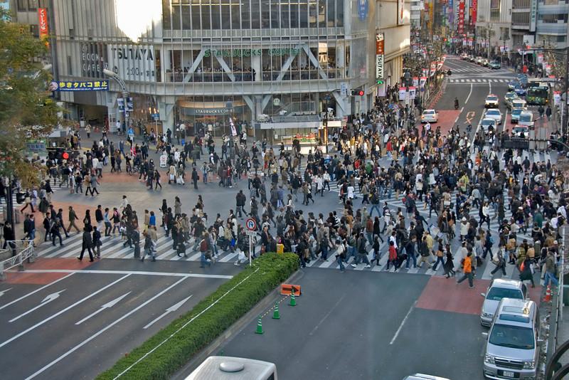 Overhead shot of Shibuya Intersection in Tokyo, Japan
