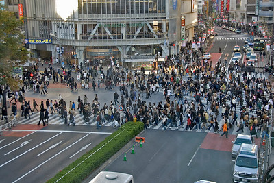 Overhead shot of Shibuya Intersection in Tokyo, Japan