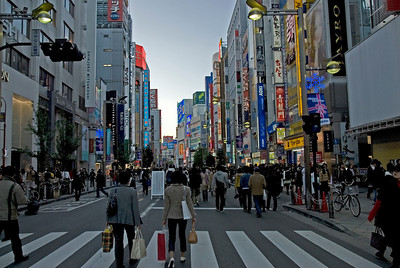 Heavy foot traffic on a main street at Shinjuku, Tokyo, Japan