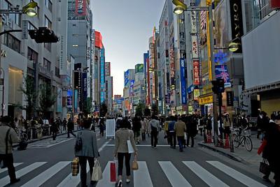 Heavy foot traffic on a main street at Shinjuku, Tokyo, Japan