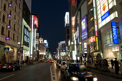 Bright lights at city during night at Ginza, Tokyo, Japan