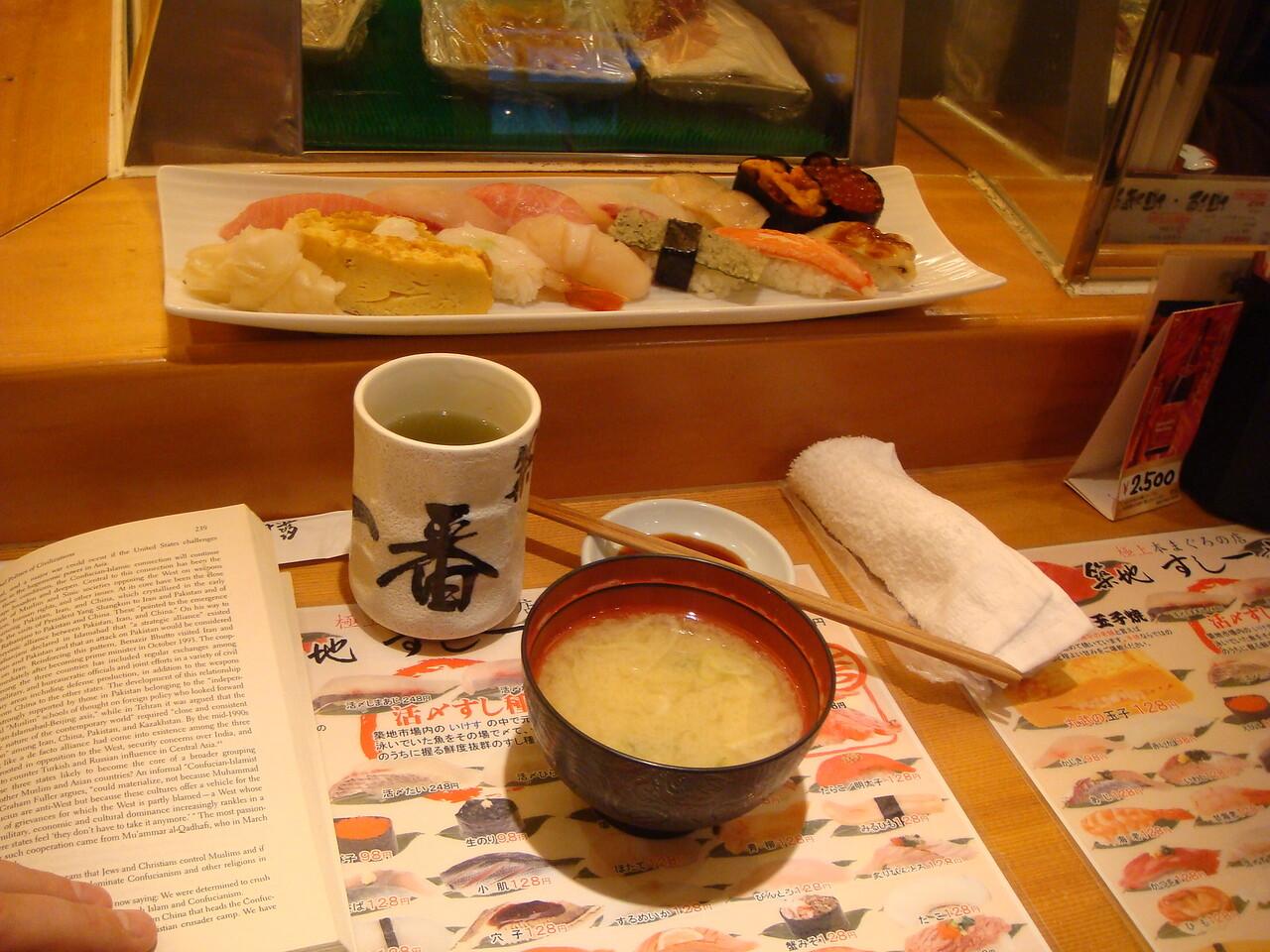 Sushi for breakfast at Tsukiji, Tokyo, Japan