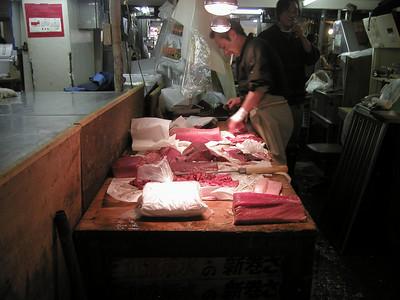 Tsukiji fish market is located near the Tsukijishijō Station on the Toei Ōedo Line