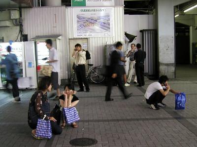 Tokyo, Akihabara Electric Town- people taking a break -  nightlife Aug 2002