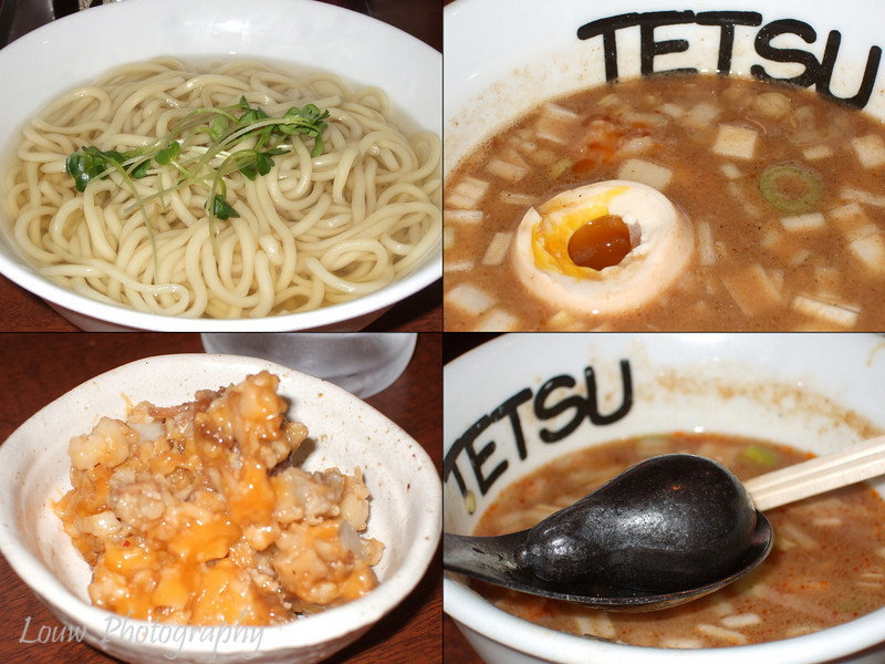 Tetsu Ramen, Tokyo, Japan.  <br /> <br /> From upper left going clockwise: Hot ramen noodles, dipping soup with soft-boiled egg, iron slab to reheat soup, and extra pork fat.