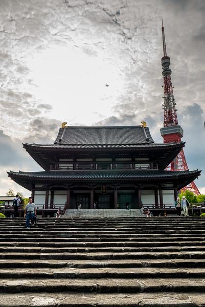 Zojo-ji Temple near Tokyo Tower,  in Tokyo Japan.