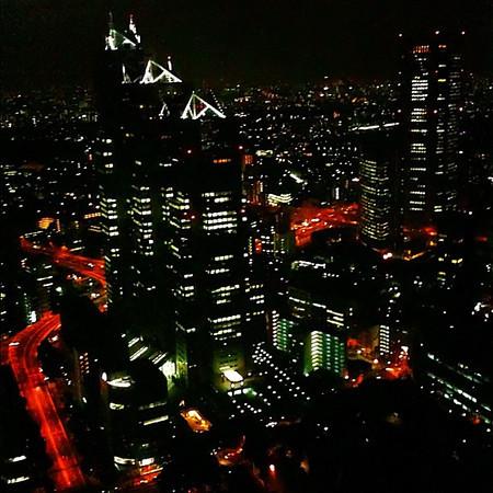 A slice of Tokyo skyline by night - 45th floor observatory Tokyo metro gov't bldg