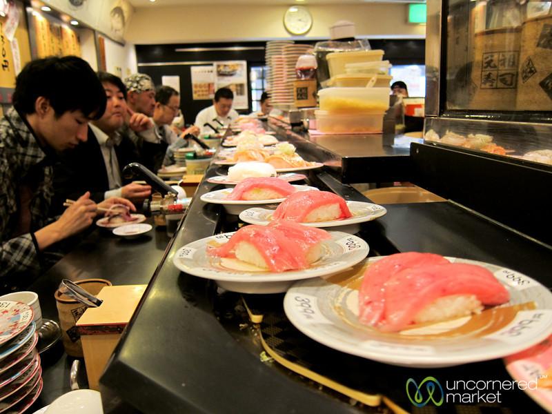 Conveyor Belt Sushi in Shinjuku - Tokyo, Japan