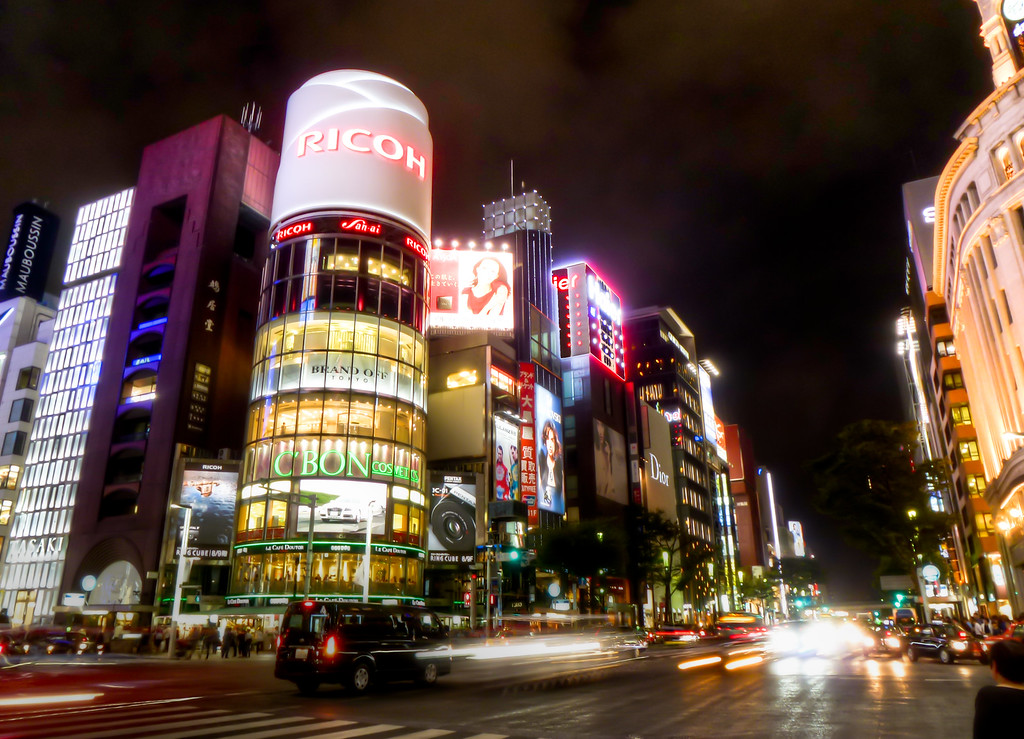 Tokyo's Downtown Ginza District At Night