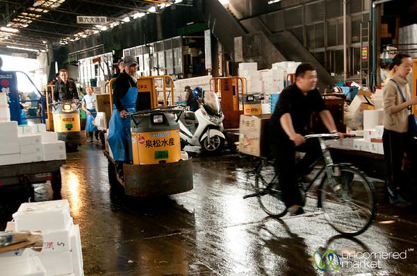 Zooming Around Tsukiji Fish Market - Tokyo, Japan