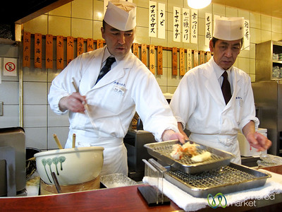 Tempura Cooked up at Tsunahachi Restaurant - Tokyo, Japan