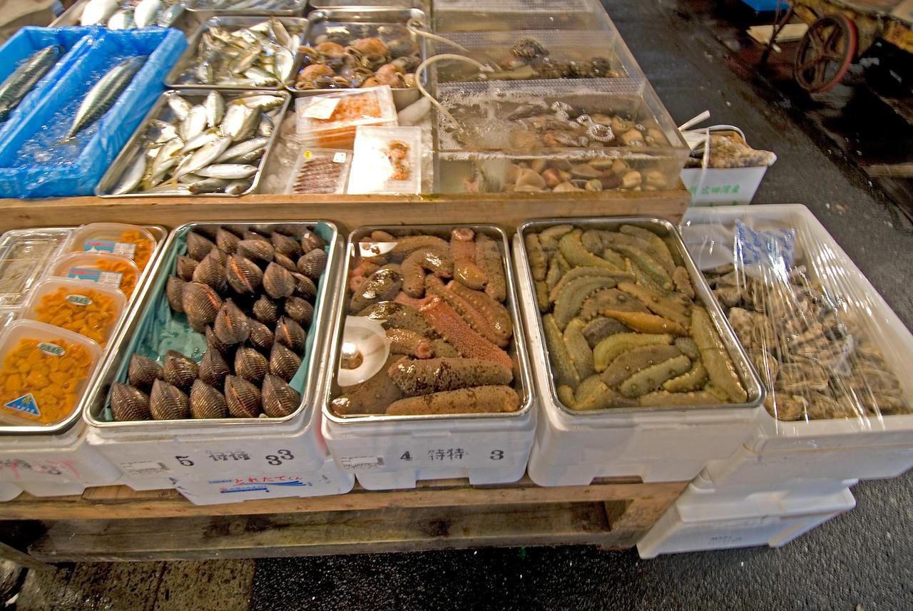 Sea Cucumber and Clams at a vendor stall in Tsukiji Fish Market, Tokyo, Japan