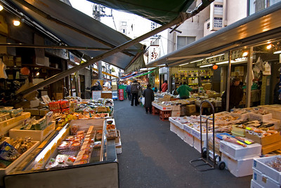 Dry market section of Tsukiji Fish Market, Tokyo, Japan