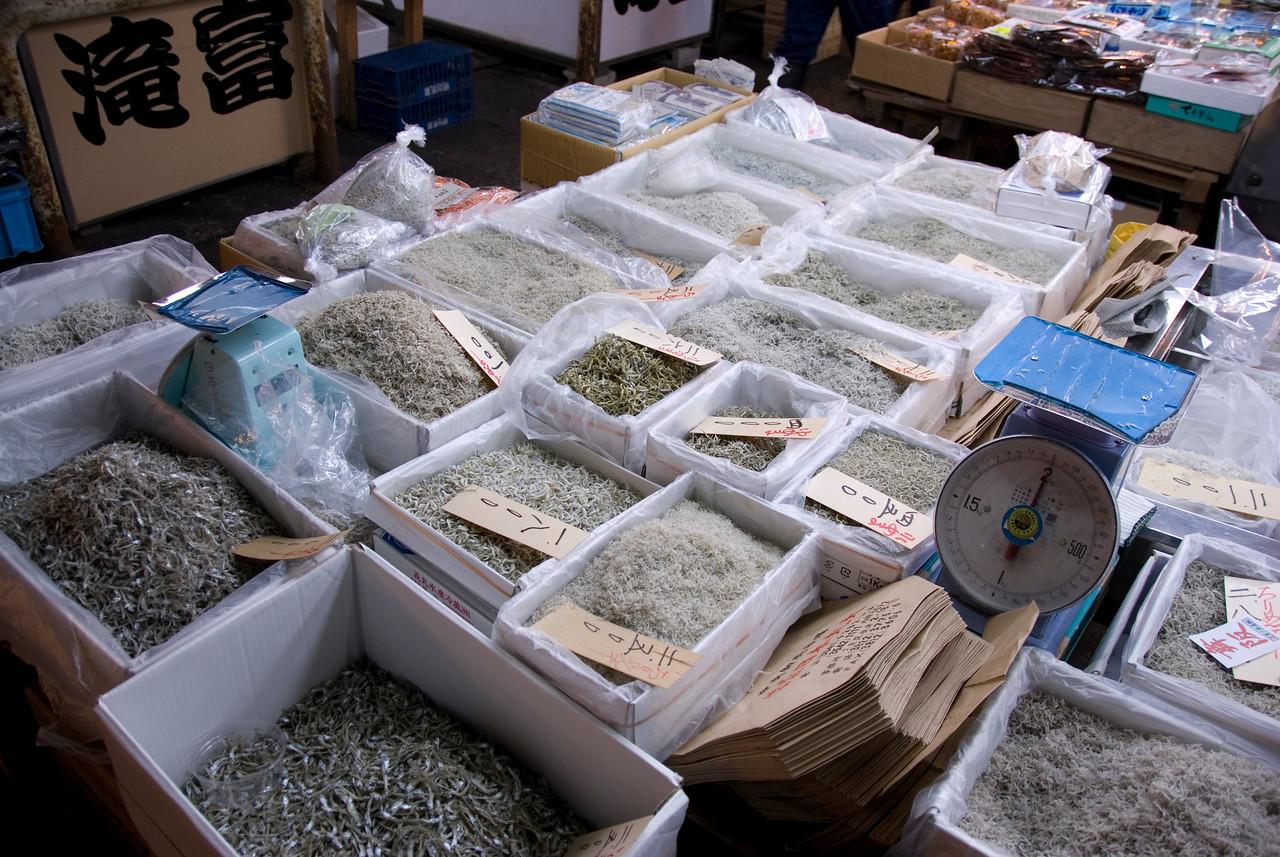 Assortment of dried fish on display at Tsukiji Fish Market, Tokyo, Japan