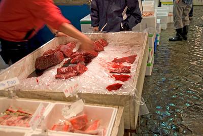 Freshly cut tuna meat at Tsukiji Fish Market, Tokyo, Japan